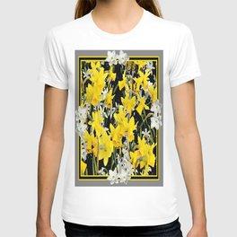 Black-Grey Art Design Yellow-White Daffodils T-shirt