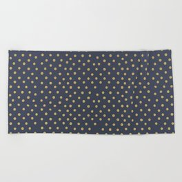 Gold Dots on Blue Beach Towel