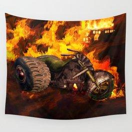 Burning Landscape Steampunk Trike Wall Tapestry