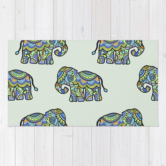 Indian elephants Rug