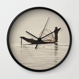 Fisherman at Inle Lake Wall Clock