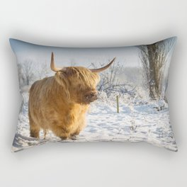 Highland Cow in the snow Rectangular Pillow