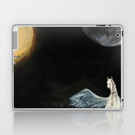 Horse flying to the moon Silver stream illustration Laptop & iPad Skin