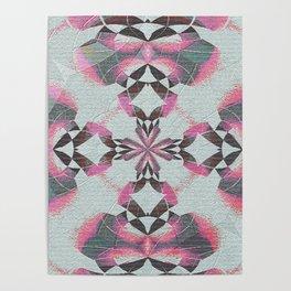 Organic Texture Mandala in Pink & Gray Poster