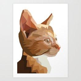 Geometric Kitten Digitally Crafted Art Print