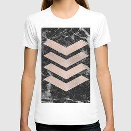 Black marble & rose gold chevrons T-shirt