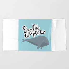 Say no to plastic. Whale, sea, ocean.  Pollution problem concept Eco, ecology banner poster. Beach Towel