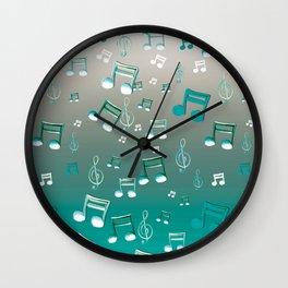 Teal Notes Wall Clock