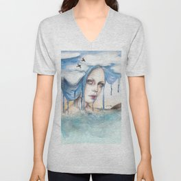Indra - Watercolour weather portrait painting Unisex V-Neck