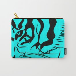 Eye Of The Tiger - Black & Turquoise Carry-All Pouch