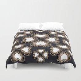 Clover Hearts Black, White, and Rose-Gold Mandala Textile Duvet Cover