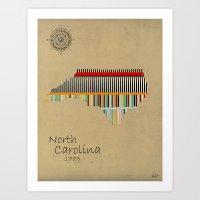 north carolina Art Prints featuring North Carolina state map by bri.buckley