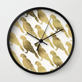 Perched Parrot – Gold Palette Wall Clock