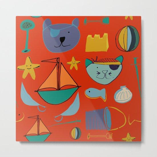 cat and bear pirate red Metal Print
