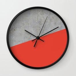 Concrete and Cherry Tomato Color Wall Clock