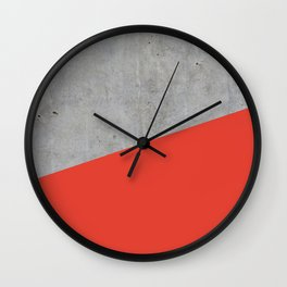 Concrete and Cherry Tomato Color Wall Clock
