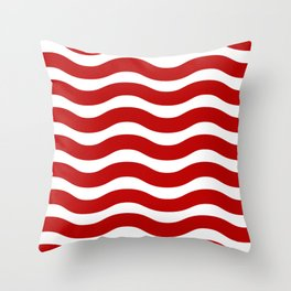 Red Abstract Wavy Lines Pattern Throw Pillow