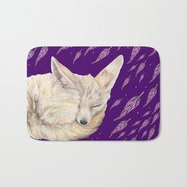 Fennec Fox Feather Dreams in Purple Grape Bath Mat