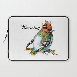Waxwing bird in the viking helmet Laptop Sleeve