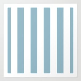 Large Baby Blue and White Vertical Cabana Tent Stripes Art Print