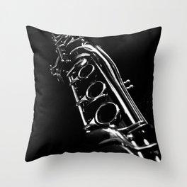 B&W Clarinet Throw Pillow