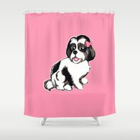 shih tzu Shower Curtains featuring Shih Tzu Puppy  by Artist Abigail