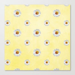 Daisies in love- Yellow Daisy Flower Floral pattern with Ladybug Canvas Print