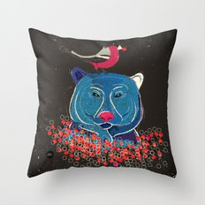 Bullfinch and bear Throw Pillow
