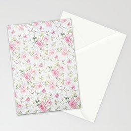 Elegant blush pink white vintage rose floral Stationery Cards