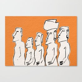 Moai statues in ink Canvas Print