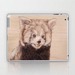 Red Panda Portrait - Drawing by Burning on Wood - Pyrography Art Laptop & iPad Skin