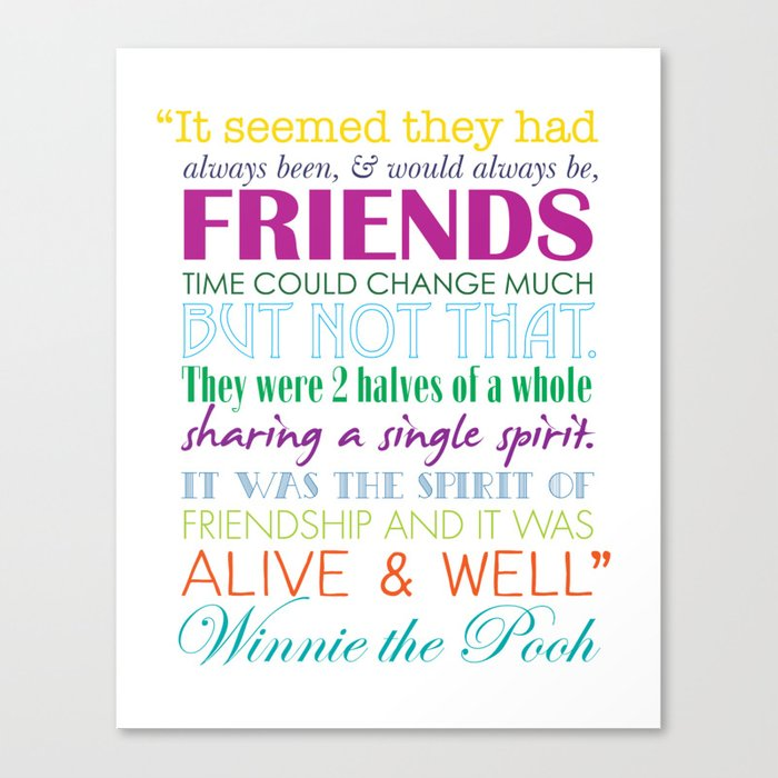 Winnie The Pooh Friendship Quote Bright Colors Canvas Print By Classy Quotes From Winnie The Pooh About Friendship