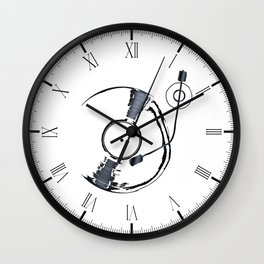 Record Deck Background Wall Clock