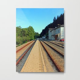 Haslach railway station | architectural photography Metal Print