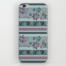 Retro . Turquoise and purple floral pattern . iPhone & iPod Skin