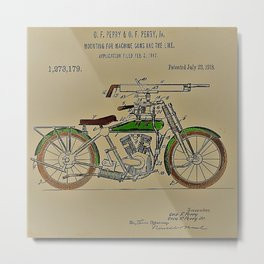 1914 WWI Perry Motorcycle Machine Gun Patent with pencil color Metal Print