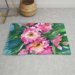Peonies, garden flowers bright pink green garden floral peony art Rug