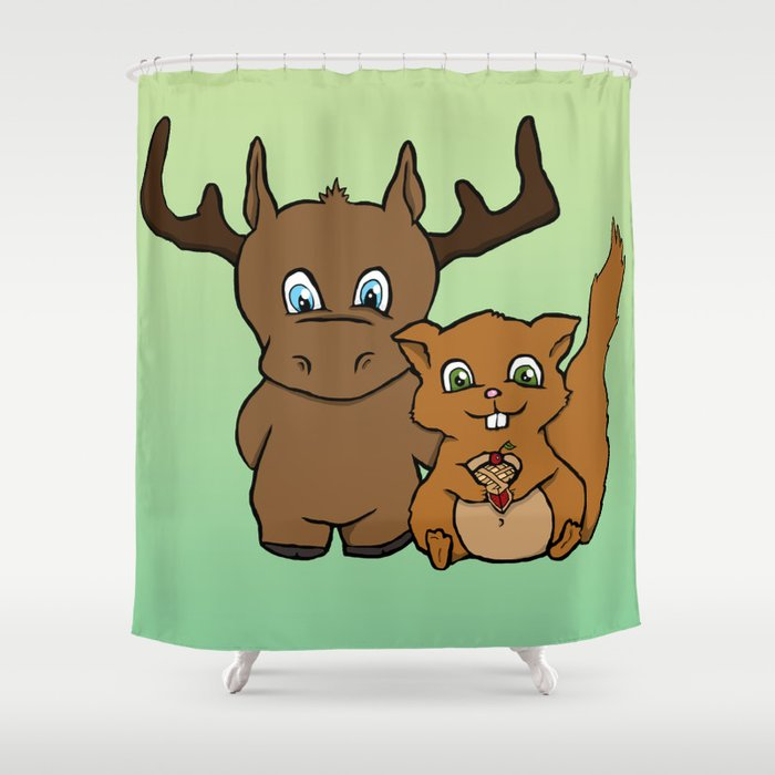 Moose And Squirrel Shower Curtain