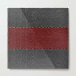 Black & Red Leather Texture Print Metal Print