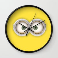minions Wall Clocks featuring minions by cat&wolf