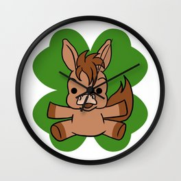 Horse On 4 Leaf Clover - St. Patricks Day Animal Wall Clock