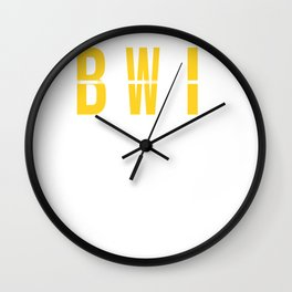 BWI - Baltimore Airport Maryland Airport Code Souvenir or Gift Design  Wall Clock