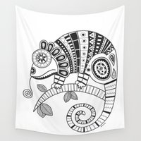 chameleon Wall Tapestries featuring Chameleon by Afriquita