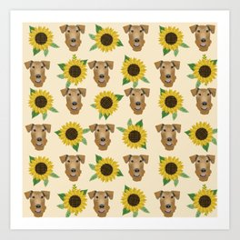 Airedale Terrier Sunflower floral print cute dogs and flowers design Art Print