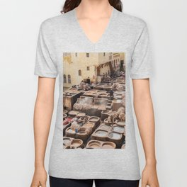 Dyeing - Chaouwara Tanneries of Fes, Morocco Unisex V-Neck