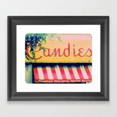 Margie's Candies ~ vintage ice cream parlor sign Framed Art Print
