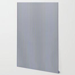 Navy Blue Vertical Stripes Wallpaper