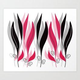 Digital Vector Drawing Leaves Art Print