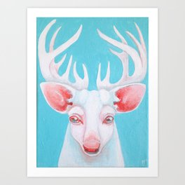Portrait of a White Stag Art Print