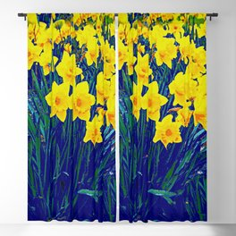 BLUE-PURPLE GARDEN OF YELLOW SPRING DAFFODILS Blackout Curtain